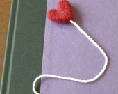 Red Heart Bookmark -- Needle Felted