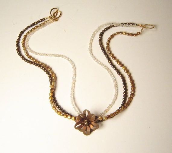 Copper Flower choker (copper and gold)