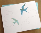 Flying Swallows Card: Single card or boxed set