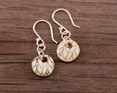 Small Brown Knit Texture Earrings Stoneware