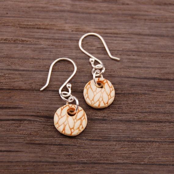 Small Orange Knit Texture Earrings Stoneware