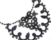 Little Black Dress Accessories - Black Victorian Lace and Jet Crystals