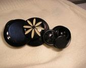 Vintage Black Button Barrette featuring a Flower Button