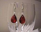 Deep Red Teardrop Earrings