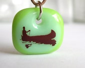 Canoeing on Green. A fused glass pendant necklace.