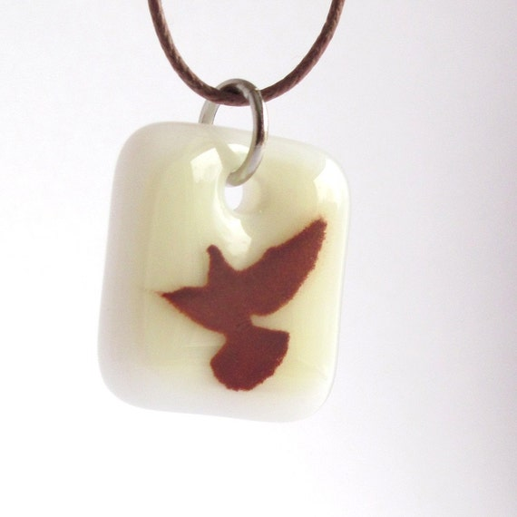 Bird in Flight. Glass Pendant Necklace.