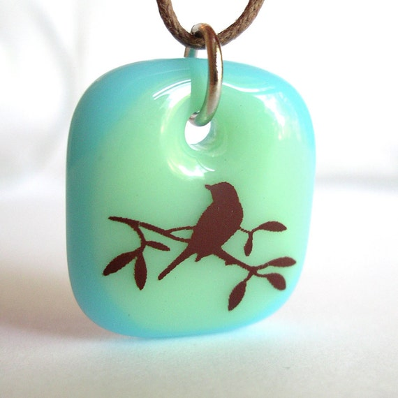 Bird Silhouette on Mint and Aqua. A fused glass pendant necklace.