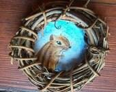 Miniature Original Painting- Forest Friends Ornament- Chipmunk