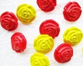 Rose shank buttons 18 mm. - 20 pcs