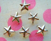 100pcs 8mm Metal star Studs - Steel tone