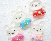 15 pcs Glitter cutie bunny in polka dot dress cab 16x22 mm