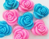 Pink and blue rose Cabochons 12 pcs size 28 mm.