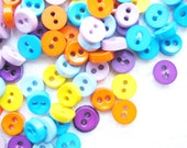 SALES 100 pcs Tiny 2 hole button - 6.5 mm. for making Barbie, Blythe and dolls clothes SET19