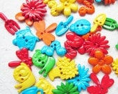 30 pcs 2 hole buttons assorted size and color set 1 - In my garden
