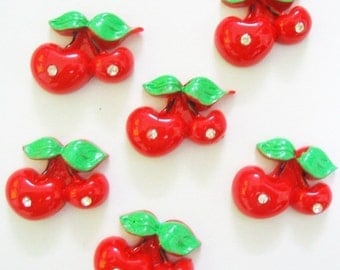 12 pcs Red cherry with Rhinestone Cabochons  size 23 x 28mm.