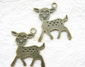 10 pcs of  tiny charms - Antique brass little deer bambi charm