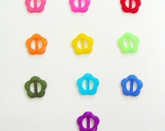 Tiny flower buckle for Barbie, Blythe and dolls assorted color 20 pcs