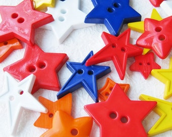 30 pcs 2 hole stars buttons assorted size and color 12 - 36 mm.