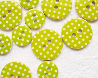 Lime Green Polka dot buttons 13 and 19 mm 90 pcs.