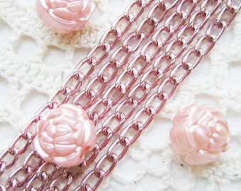 5 Feet Pink Color Aluminum Faceted Chain (3.5x5.5 mm)