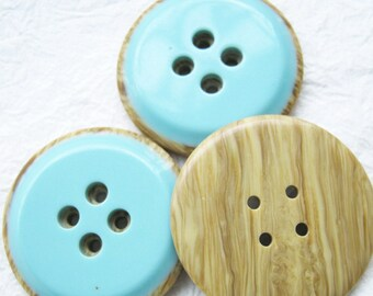4-hole Jumbo wood look a like in turquoise blue Buttons 34 mm. - 10 pcs