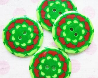 34 mm Jumbo Retro Green Buttons - 10 pcs