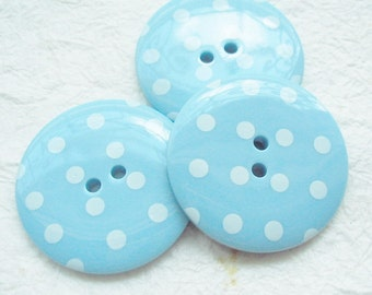 2-hole Jumbo lovely blue Polka Dot Buttons - 10 pcs
