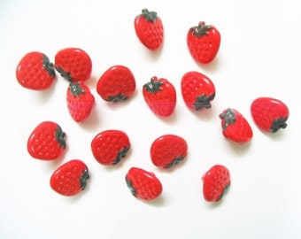 Mini yummy Strawberry  shank buttons - 30 pcs