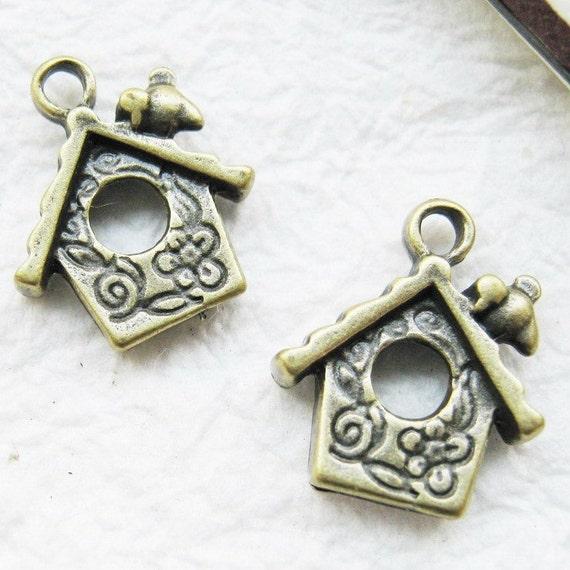 10 pcs of  tiny charms - Antique brass bird house charm