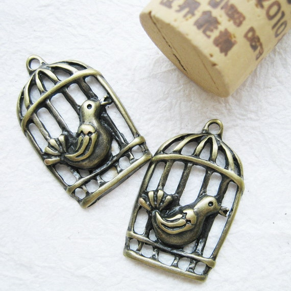 5 pcs of  tiny charms - Antique brass bird cage  charm