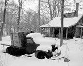 Goin' Nowhere Now - 8 x 10 inch black and white truck rustic winter photograph