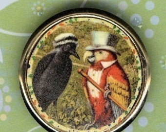 Crow and Parrot Pin Little innocent Crow lady with smooth talking Parrot man