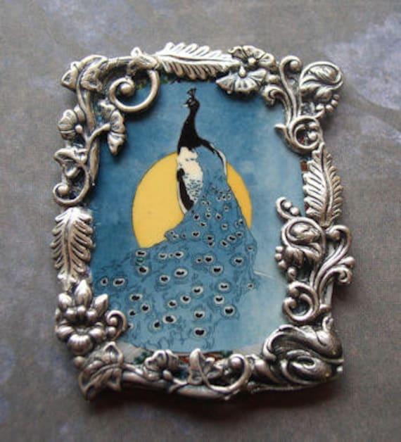 Peacock Pin Desk Art Teal Moonlit night