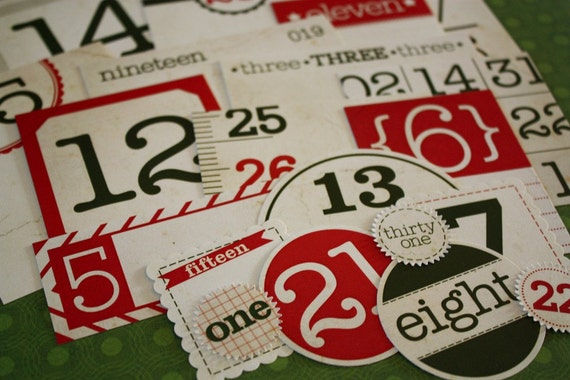 Christmas Mix and Match Vintage Number Tags - set of 31