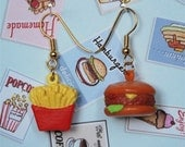 vintage hamburger and french fry earrings