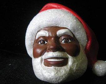 African American Santa Ornament Handpainted