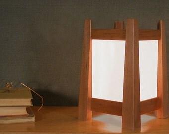 Contemporary Table Lamp - Mahogany Wood