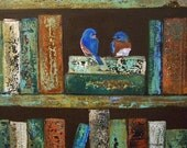 Blue Birds on Vintage Inspired Library Books Painting