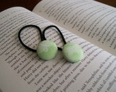 Flutterby Fabric Button Ponytail Holder in green set of 2