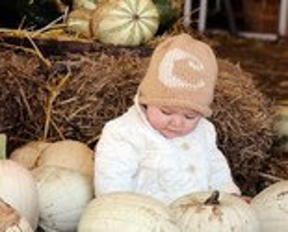Hand Knit Baby Toddler Hat - with Your Baby Initial A-Z Monogrammed