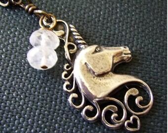 Mythical Unicorn and Rainbow Moonstone Necklace