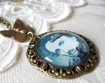 Edgar Allan Poe Pendant Necklace - Picture Portrait - Goth Necklace - Cameo Necklace