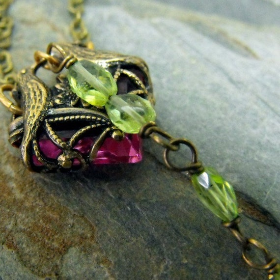 Reserved Listing for Ariel Love Bird Brass Necklace And Apple Blossom Necklace