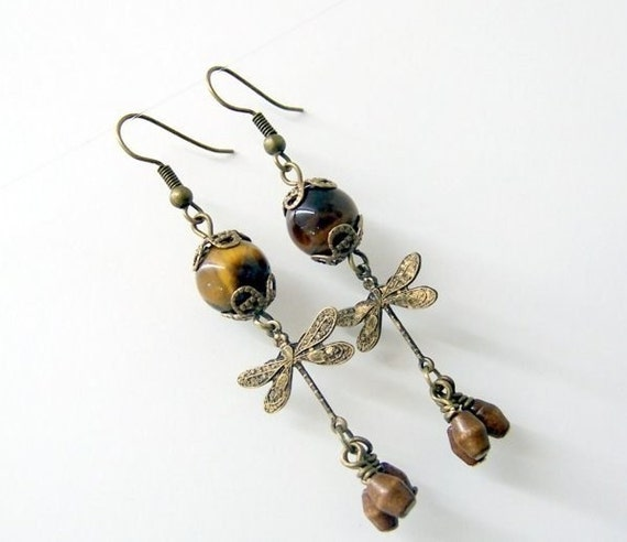 Tigereye Dragonfly Wood Earrings