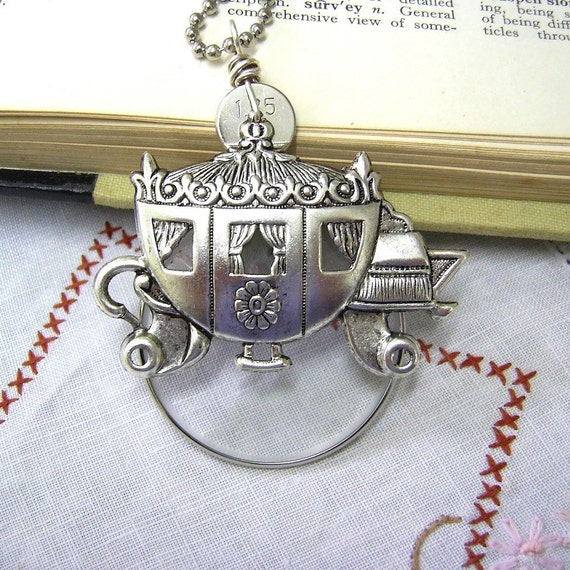 Optical Lens Necklace - Take Me Home - Silver Carriage Pendant