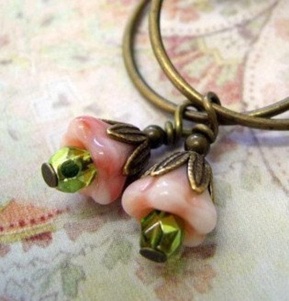 Bella- Czech Flower Bronze Hoop Earrings