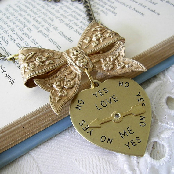 Vintage Brass Bow With A Love Heart Spin Meter - He Loves Me -  He Loves Me Not Necklace