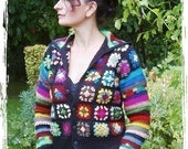 PDF Crochet Pattern for Granny Square Jacket with optional Hood or Collar Instant Download