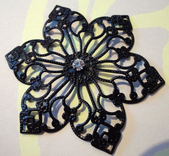 Black Filigree Flower Pendant Medallion.. Large Gothic Garden Pendant