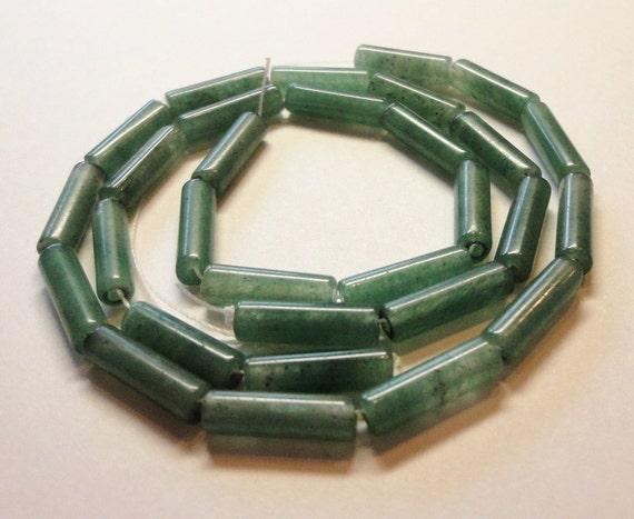 Green Aventurine Tube Beads Green Gemstone Beads Round Cylinder Beads